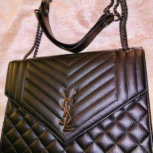 Handbags - Black Envelope chain bag